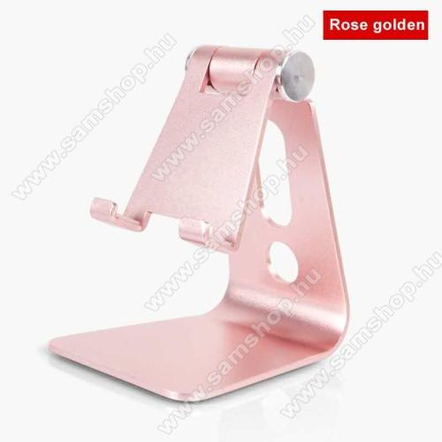 SAMSUNG SGH-E800UNIVERZÁLIS alumínium asztali tartó / állvány - 270°-ban állítható, kábelvezető kivágás, 72 x 80 x 100 mm - ROSE GOLD