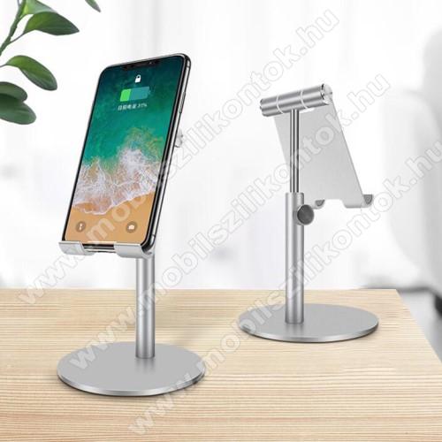 UNIVERZÁLIS alumínium asztali tartó / állvány - függőlegesen 270°-ban állítható, kábelvezető kivágás, csúszásgátló - EZÜST