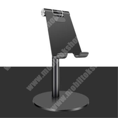 ALCATEL A30 UNIVERZÁLIS alumínium asztali tartó / állvány - függőlegesen 270°-ban állítható, kábelvezető kivágás, csúszásgátló - FEKETE