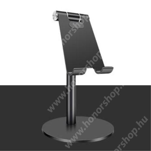 HUAWEI Honor 10 UNIVERZÁLIS alumínium asztali tartó / állvány - függőlegesen 270°-ban állítható, kábelvezető kivágás, csúszásgátló - FEKETE