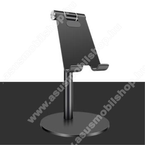 ASUS Zenfone 2 Laser (ZE500KL)UNIVERZÁLIS alumínium asztali tartó / állvány - függőlegesen 270°-ban állítható, kábelvezető kivágás, csúszásgátló - FEKETE