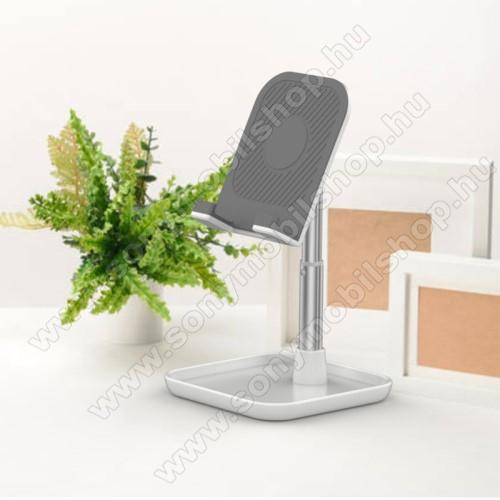 UNIVERZÁLIS alumínium asztali tartó / állvány - függőlegesen 35°-ban dönthető bölcső, kábelvezető kivágás, csúszásgátló - EZÜST