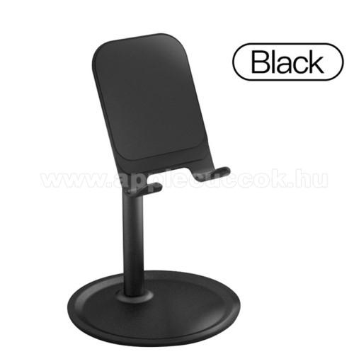 UNIVERZÁLIS alumínium asztali tartó / állvány - 5 ° ~ 45 °-os szöghez állítható, nem kihúzató!, csúszásgátló, 12 cm magas - FEKETE