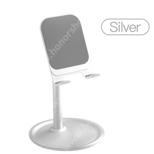HUAWEI Honor 10 UNIVERZÁLIS alumínium asztali tartó / állvány - 5 ° ~ 45 °-os szöghez állítható, nem kihúzató!, csúszásgátló, 12 cm magas - EZÜST