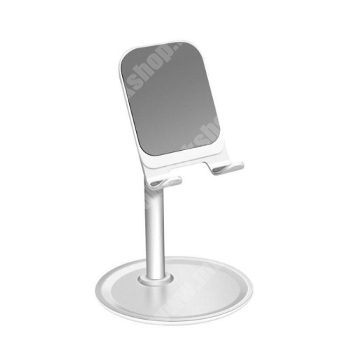 ALCATEL A30 UNIVERZÁLIS alumínium asztali tartó / állvány - 10 ° ~ 45 °-os szöghez állítható, nem kihúzató!, csúszásgátló - EZÜST