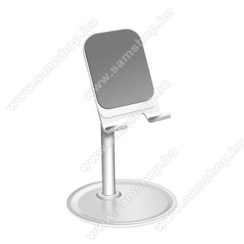 SAMSUNG SGH-F275UNIVERZÁLIS alumínium asztali tartó / állvány - 10 ° ~ 45 °-os szöghez állítható, nem kihúzató!, csúszásgátló - EZÜST