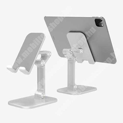 LG G4c (H525N) UNIVERZÁLIS alumínium asztali tartó / állvány - állítható, összecsukható, csúszásgátló - EZÜST