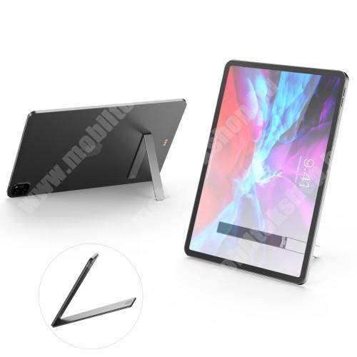 LG G4c (H525N) UNIVERZÁLIS alumínium kitámasztó okostelefonokhoz / táblagépekhez - ragasztható, L alakú, asztali tartó funkció, összecsukható, mágneses záródás - EZÜST