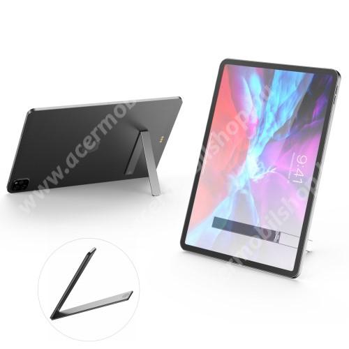 ACER Liquid X1 UNIVERZÁLIS alumínium kitámasztó okostelefonokhoz / táblagépekhez - ragasztható, L alakú, asztali tartó funkció, összecsukható, mágneses záródás - EZÜST