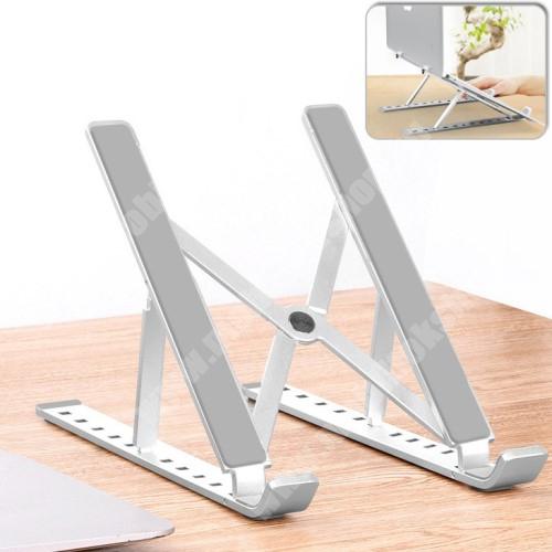 UNIVERZÁLIS asztali Tablet PC asztali tartó / állvány - alumínium, 10 különböző látószög állható, 55mm-155mm-ig állítható magasság, összecsukható, csúszásgátló - EZÜST - 240 x 165mm