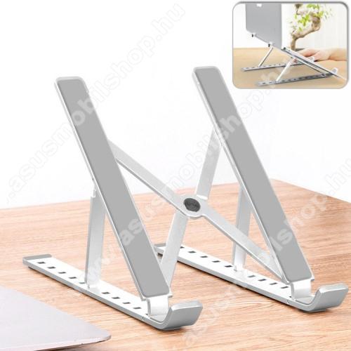 ASUS Memo Pad 7 ME572CUNIVERZÁLIS asztali Tablet PC asztali tartó / állvány - alumínium, 10 különböző látószög állható, 55mm-155mm-ig állítható magasság, összecsukható, csúszásgátló - EZÜST - 240 x 165mm