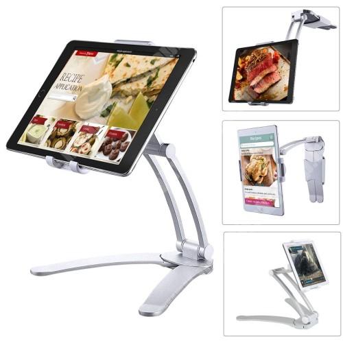 UNIVERZÁLIS asztali Tablet PC tartó / állvány -  360 °-fokban forgatható, alumínium, falra is szerelhető, 125-190mm-ig állítható bölcsővel - EZÜST