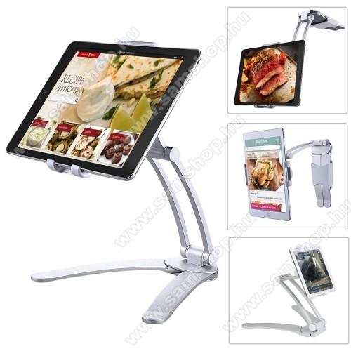 SAMSUNG GT-N8010 Galaxy Note 10.1UNIVERZÁLIS asztali Tablet PC tartó / állvány -  360 °-fokban forgatható, alumínium, falra is szerelhető, 125-190mm-ig állítható bölcsővel - EZÜST