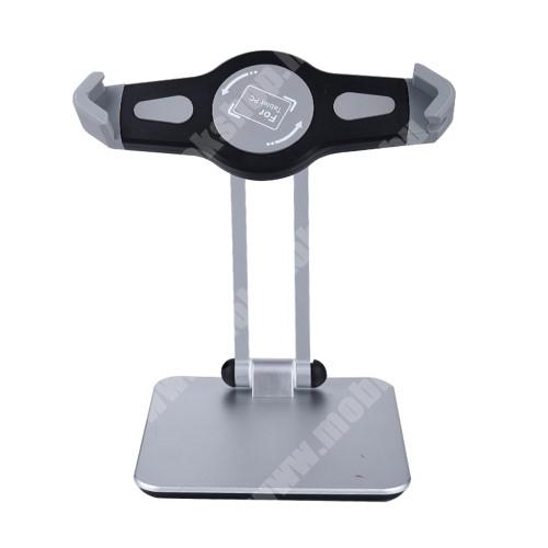 """PRESTIGIO MultiPad 8.0 PRO DUO UNIVERZÁLIS asztali Tablet PC tartó / állvány -  360°-ban forgatható, 180°-ban dönthető, alumínium, 215 x 160 x 65mm, 220-340mm-ig nyíló bölcső, 7-12""""-os készülékekhez - EZÜST"""