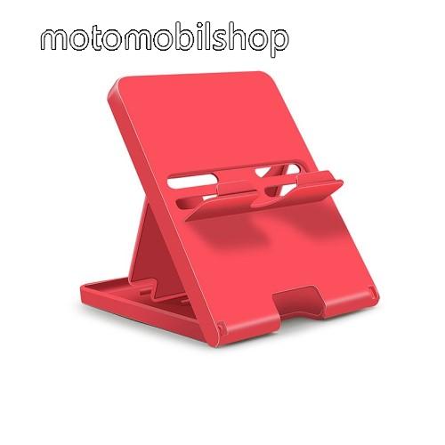 UNIVERZÁLIS asztali tartó, állvány Nintendo Switch / Lite-hoz - csúszásgátló, összecsukható, 4 állítható szög 70°,60°,50°,40° - PIROS
