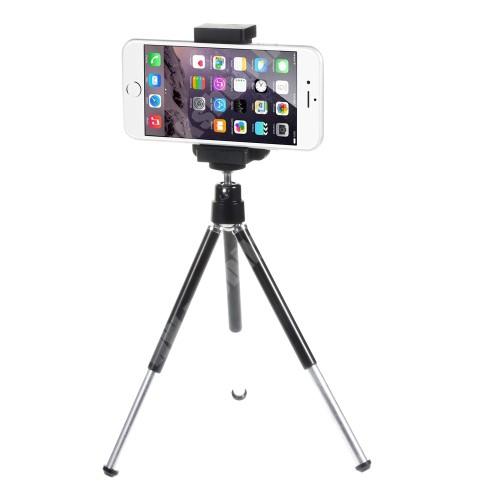APPLE iPhone 11 Pro UNIVERZÁLIS asztali tartó / kitámasztó / fotó állvány - tripod, állítható 5-9 cm, 13 cm magas - FEKETE