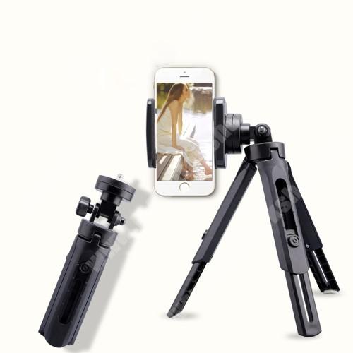 Elephone P9 Water UNIVERZÁLIS asztali tartó/ tripod fotó állvány - 360°-ban forgatható, állítható bölcső 55–75mm-ig, 28cm teljes hossz - FEKETE