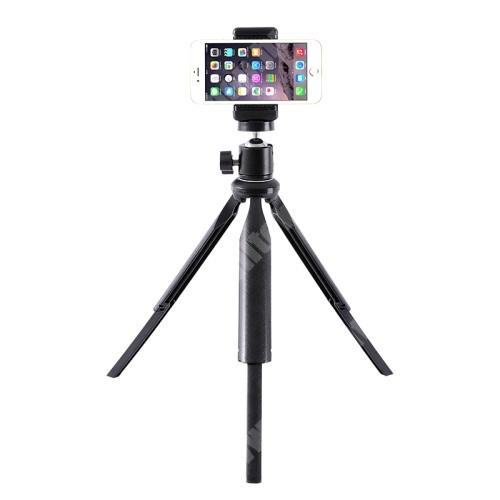 """Elephone P9 Water UNIVERZÁLIS asztali tartó/ tripod fotó állvány - 360°-ban forgatható, 90°-os dőlésszög, állítható bölcső 55–80mm-ig, 22cm-30cm-ig állítható magasság, univerzális 1/4""""-es csatlakozó - FEKETE"""