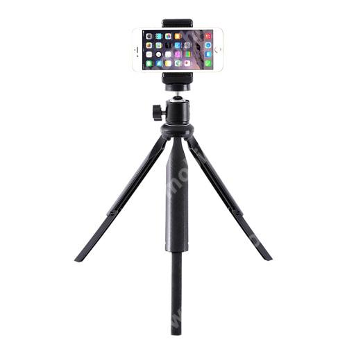 """ACER Liquid Z3 UNIVERZÁLIS asztali tartó/ tripod fotó állvány - 360°-ban forgatható, 90°-os dőlésszög, állítható bölcső 55–80mm-ig, 22cm-30cm-ig állítható magasság, univerzális 1/4""""-es csatlakozó - FEKETE"""