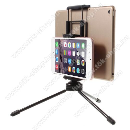 UNIVERZÁLIS asztali tartó / TRIPOD fotó állvány - 57-87 mm-es bölcsővel telefonokhoz, 112-192 mm-es bölcsővel tabletekhez, 360 fokban forgatható, univerzális 1/4