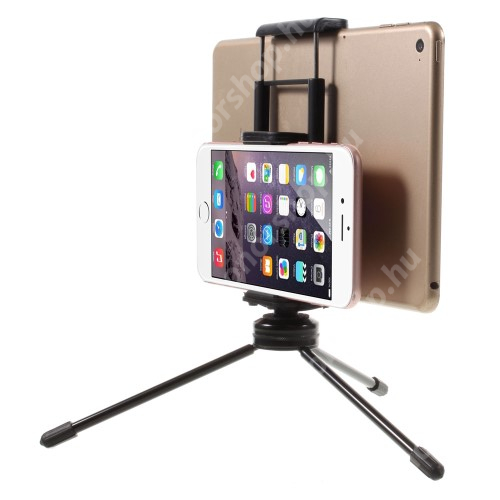 """UNIVERZÁLIS asztali tartó / TRIPOD fotó állvány - 57-87 mm-es bölcsővel telefonokhoz, 112-192 mm-es bölcsővel tabletekhez, 360 fokban forgatható, univerzális 1/4""""-es csatlakozó - FEKETE"""