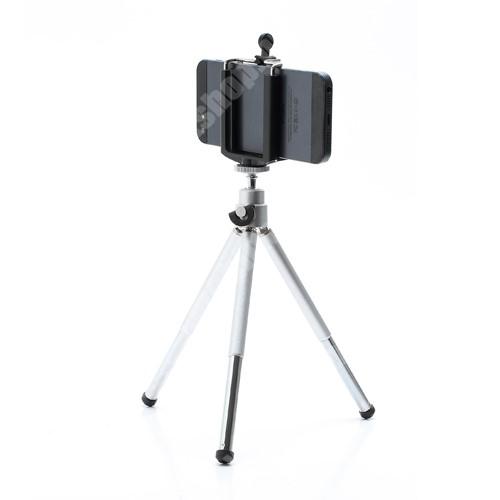ALCATEL A30 UNIVERZÁLIS asztali tartó/ tripod fotó állvány - 360°-ban forgatható, állítható bölcső 5,5–8,2 cm, 14cm-20cm-ig állítható magasság - FEKETE / EZÜST