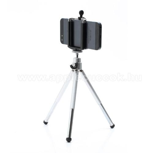 UNIVERZÁLIS asztali tartó/ tripod fotó állvány - 360°-ban forgatható, állítható bölcső 5,5–8,2 cm, 14cm-20cm-ig állítható magasság - FEKETE / EZÜST