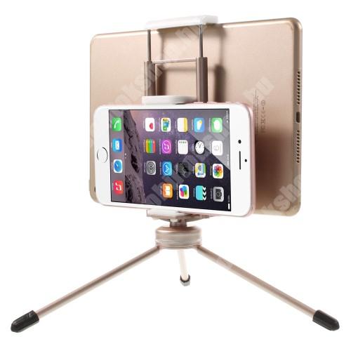 """UNIVERZÁLIS asztali tartó / TRIPOD fotó állvány - 57-87 mm-es bölcsővel telefonokhoz, 112-192 mm-es bölcsővel tabletekhez, 360 fokban forgatható, univerzális 1/4""""-es csatlakozó - PEZSGŐARANY"""