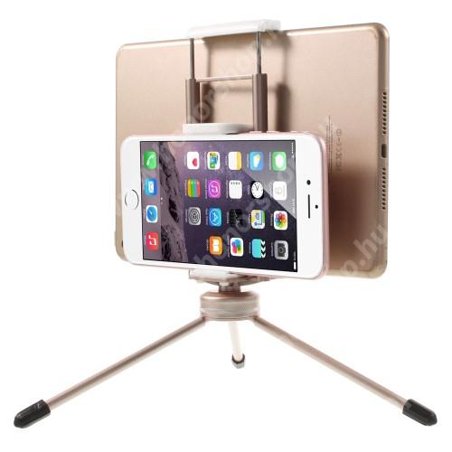 """HUAWEI Honor V40 5G UNIVERZÁLIS asztali tartó / TRIPOD fotó állvány - 57-87 mm-es bölcsővel telefonokhoz, 112-192 mm-es bölcsővel tabletekhez, 360 fokban forgatható, univerzális 1/4""""-es csatlakozó - PEZSGŐARANY"""