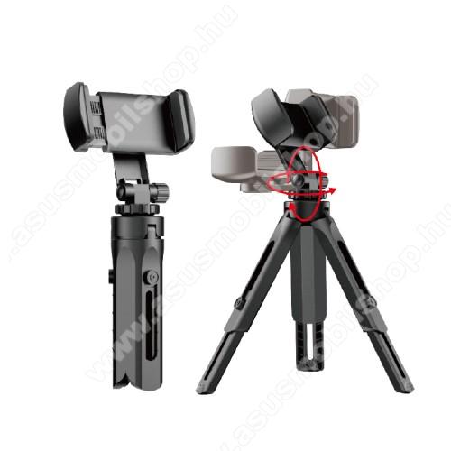 UNIVERZÁLIS asztali tartó / tripod fotó állvány - 360°-ban forgatható, állítható bölcső 55–95mm-ig, 205mm teljes hossz - FEKETE