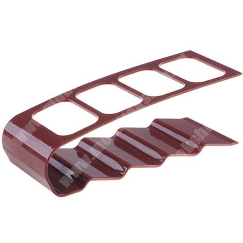 HomTom H17 Pro UNIVERZÁLIS asztali távirányító tartó / állvány - műanyag, 4 férőhely, 18cm x 10cm x 5.5cm - KÁVÉBARNA