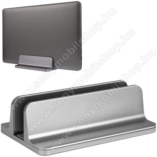 UNIVERZÁLIS asztali telefon, tablet, laptop tartó, alumínium állvány - 14-73mm-ig állítható bölcső - EZÜST