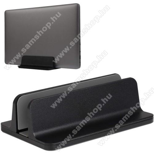 UNIVERZÁLIS asztali telefon, tablet, laptop tartó, alumínium állvány - 14-73mm-ig állítható bölcső - FEKETE