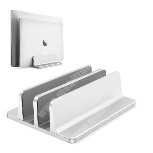 LG G4c (H525N) UNIVERZÁLIS asztali telefon, tablet, laptop tartó, alumínium állvány - DUPLA, 14-42mm-ig állítható bölcső, csúszásgátló - EZÜST