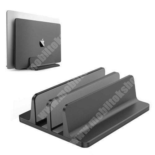 LG G4c (H525N) UNIVERZÁLIS asztali telefon, tablet, laptop tartó, alumínium állvány - DUPLA, 14-42mm-ig állítható bölcső, csúszásgátló - FEKETE