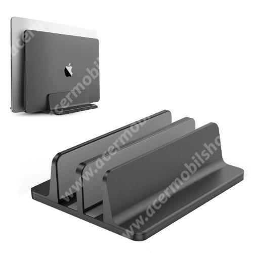 ACER Liquid Z3 UNIVERZÁLIS asztali telefon, tablet, laptop tartó, alumínium állvány - DUPLA, 14-42mm-ig állítható bölcső, csúszásgátló - FEKETE