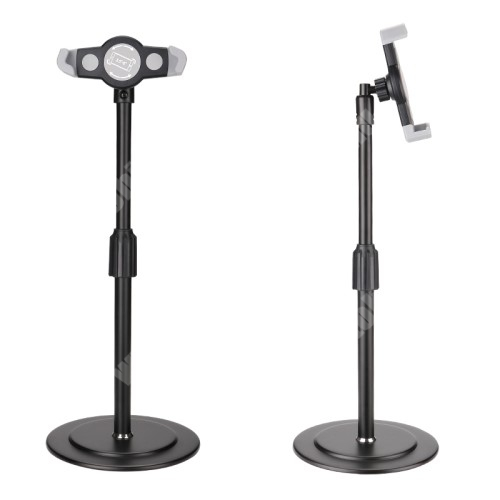 """UNIVERZÁLIS asztali telefon / Tablet PC tartó / állvány - 360°-ban forgatható, alumínium, állítható magasság, csúszásgátló, 200-320mm-ig nyíló bölcső, 4-12""""-os készülékekhez - FEKETE"""