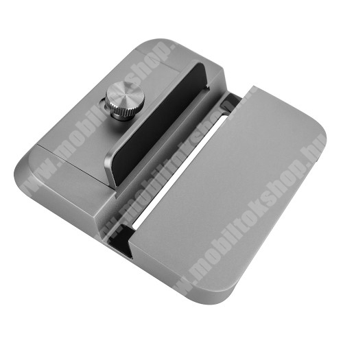 UNIVERZÁLIS asztali telefon / tablet PC tartó alumínium állvány - állítható bölcső, csúszásgátló, kábelelvezető, hangerősítő funkció, vízszintesen vagy függőlegesen is belehelyezhető a készülék - SZÜRKE