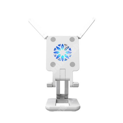 PRESTIGIO MultiPad 8.0 PRO DUO UNIVERZÁLIS asztali telefon / tablet tartó, állvány / telefonhűtő / LED fény - összecsukható, csuszásgátló, beépített ventilátor, 330°-os szögben állítható, kihajtható LED fény, Type-C port, 255mm maximum magasság, 110 x 65 x 26mm - FEHÉR