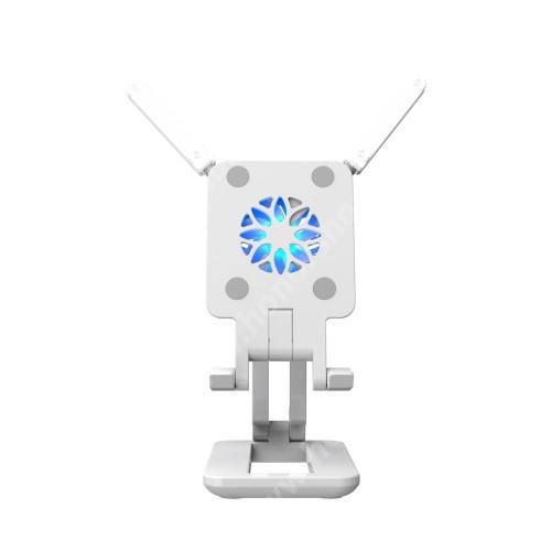HUAWEI Honor 3 UNIVERZÁLIS asztali telefon / tablet tartó, állvány / telefonhűtő / LED fény - összecsukható, csuszásgátló, beépített ventilátor, 330°-os szögben állítható, kihajtható LED fény, Type-C port, 255mm maximum magasság, 110 x 65 x 26mm - FEHÉR