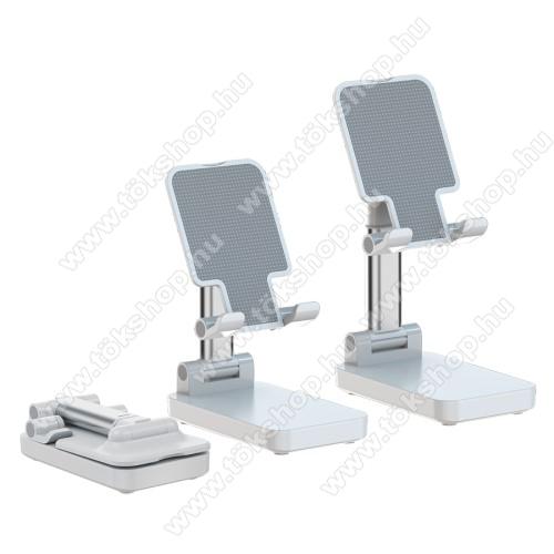 UNIVERZÁLIS asztali telefon / tablet tartó, állvány / beépített Power Bank - összecsukható, kihúzható, állítható dőlésszög, beépített 5000mAh akkumulátor, 5V/2A, 1x Type-C, 1x USB, 1x microUSB port - FEHÉR