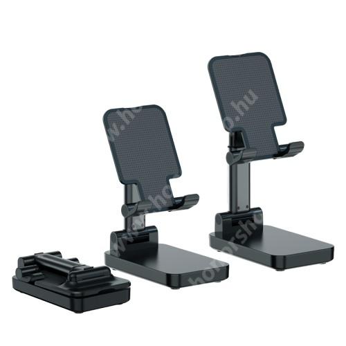 UNIVERZÁLIS asztali telefon / tablet tartó, állvány / beépített Power Bank - összecsukható, kihúzható, állítható dőlésszög, beépített 5000mAh akkumulátor, 5V/2A, 1x Type-C, 1x USB, 1x microUSB port - FEKETE