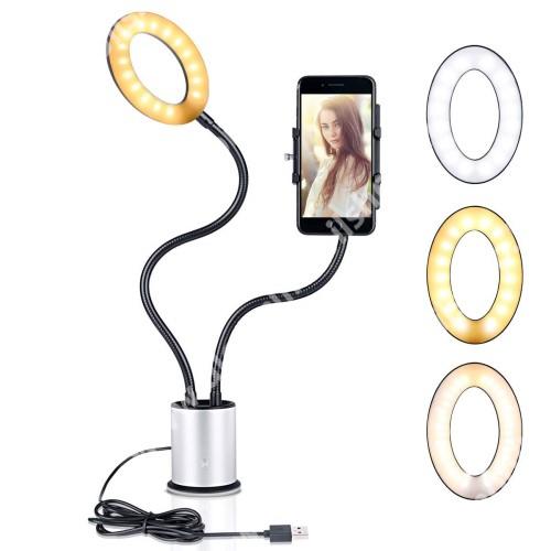 UNIVERZÁLIS asztali telefon tartó állvány - tapadókorongos,  LED körfény, állítható színhőmérséklet, 360°-ban forgatható - 55-85 mm-ig nyíló bölcsővel, 44cm magas bölcső, 59cm magas LED fény - FEKETE / EZÜST