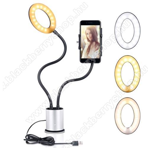 BLACKBERRY 7100xUNIVERZÁLIS asztali telefon tartó állvány - tapadókorongos,  LED körfény, állítható színhőmérséklet, 360°-ban forgatható - 55-85 mm-ig nyíló bölcsővel, 44cm magas bölcső, 59cm magas LED fény - FEKETE / EZÜST