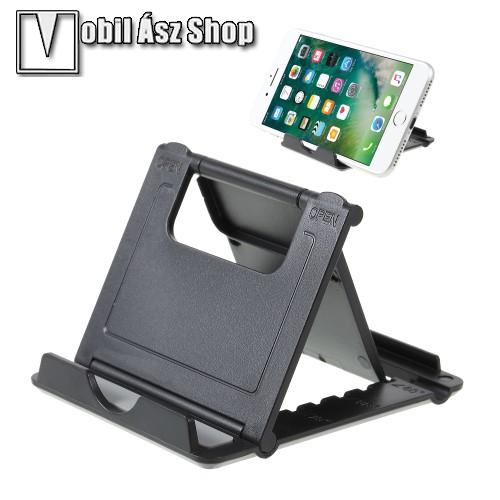 HUAWEI P9UNIVERZÁLIS asztali telefon tartó, állvány - 5 állítható szög, összecsukható - FEKETE