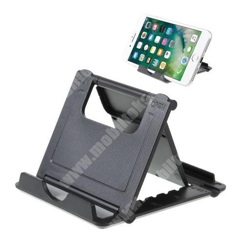 APPLE iPhone X UNIVERZÁLIS asztali telefon tartó, állvány - 5 állítható szög, összecsukható - FEKETE