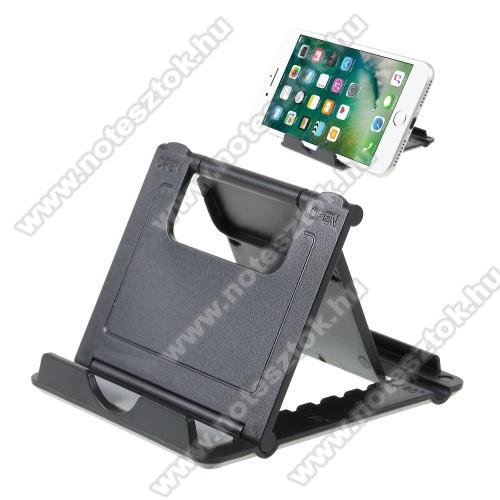 OPPO R17 ProUNIVERZÁLIS asztali telefon tartó, állvány - 5 állítható szög, összecsukható - FEKETE