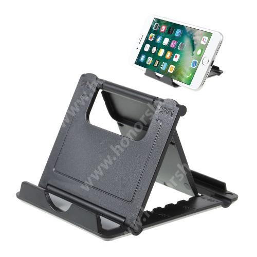 HUAWEI P20 Lite (2018) UNIVERZÁLIS asztali telefon tartó, állvány - 5 állítható szög, összecsukható - FEKETE