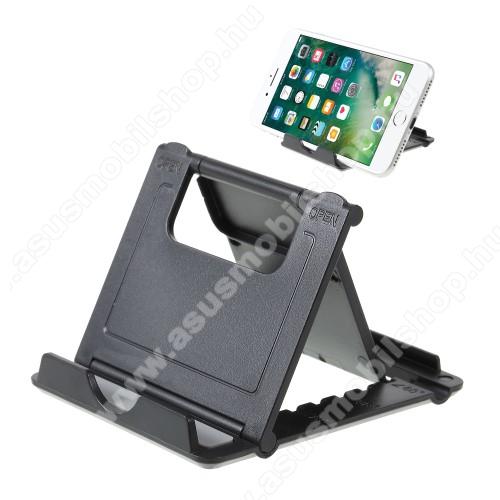 ASUS Zenfone 3s Max (ZC521TL)UNIVERZÁLIS asztali telefon tartó, állvány - 5 állítható szög, összecsukható - FEKETE