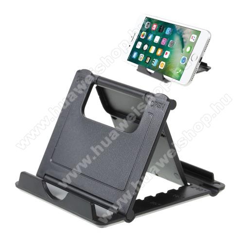 HUAWEI Y MaxUNIVERZÁLIS asztali telefon tartó, állvány - 5 állítható szög, összecsukható - FEKETE